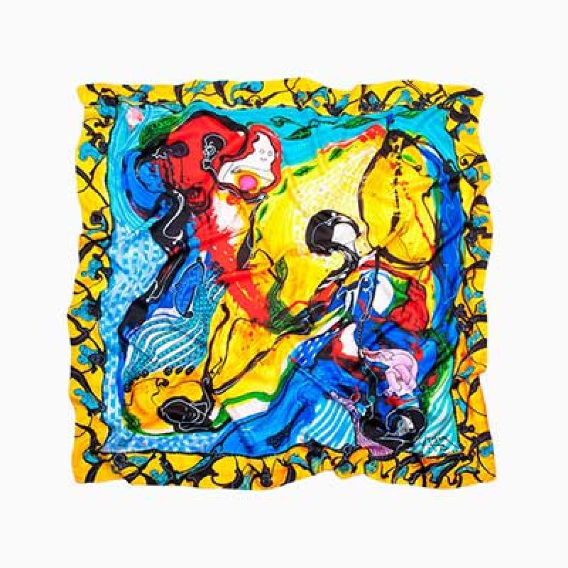 Silk scarves and foulards with art...