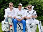 René König, Franz Beckenbauer und Gregor-T. Kozik während des Karsten Fluhr Charity-Golfs 2015