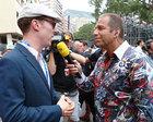 RTL-Moderator Kai Ebel im Germens Hemd Mambo im Interview mit Schauspieler Benedict Cumberbatch, Foto Russel Batchelor, 2014