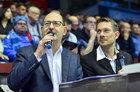 CFC-Stadionsprecher Olaf Kadner und Moderator Karsten Kolliski im Germens Hemd Paradies, 2016