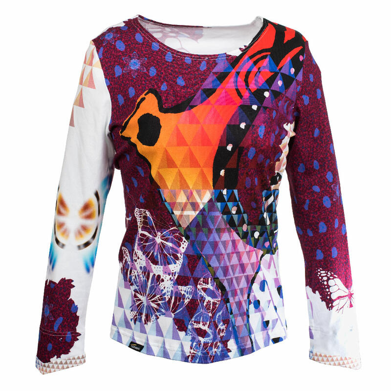 BUTTERFLY PIPERS - Colorful ladies long sleeve tshirt