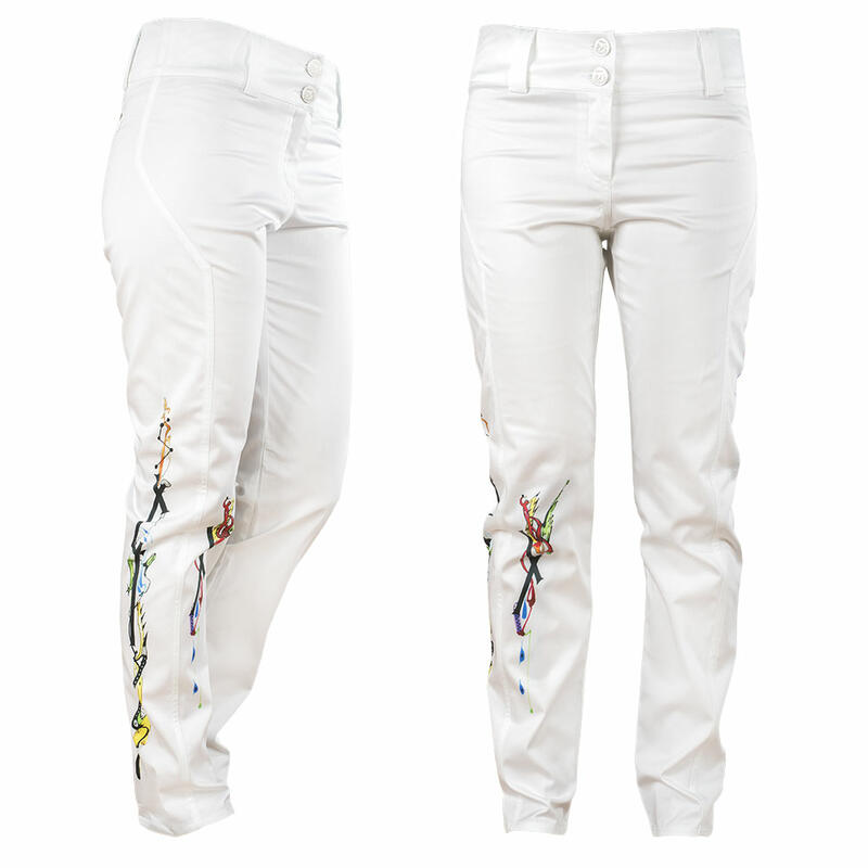 White ladies trousers SAVILLE with paintings