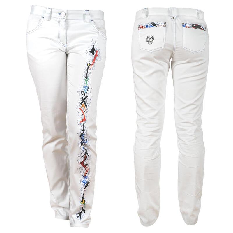 Weiße Damenhose PINITIKI mit Muster von Germens ... 4b2966fe93