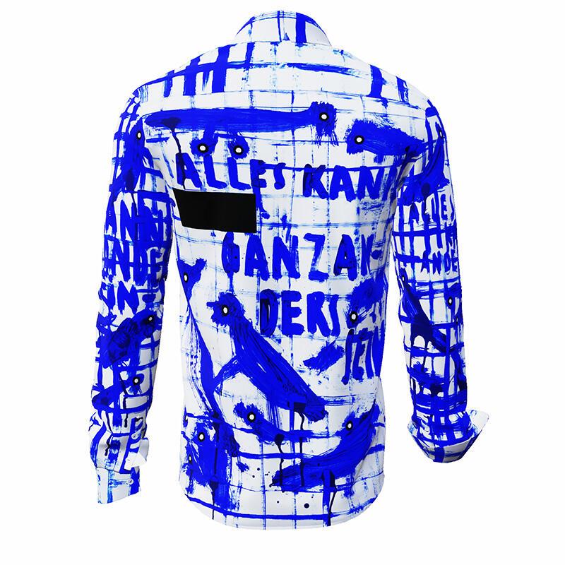 anders blau wei kariertes hemd k nstler osmar osten. Black Bedroom Furniture Sets. Home Design Ideas