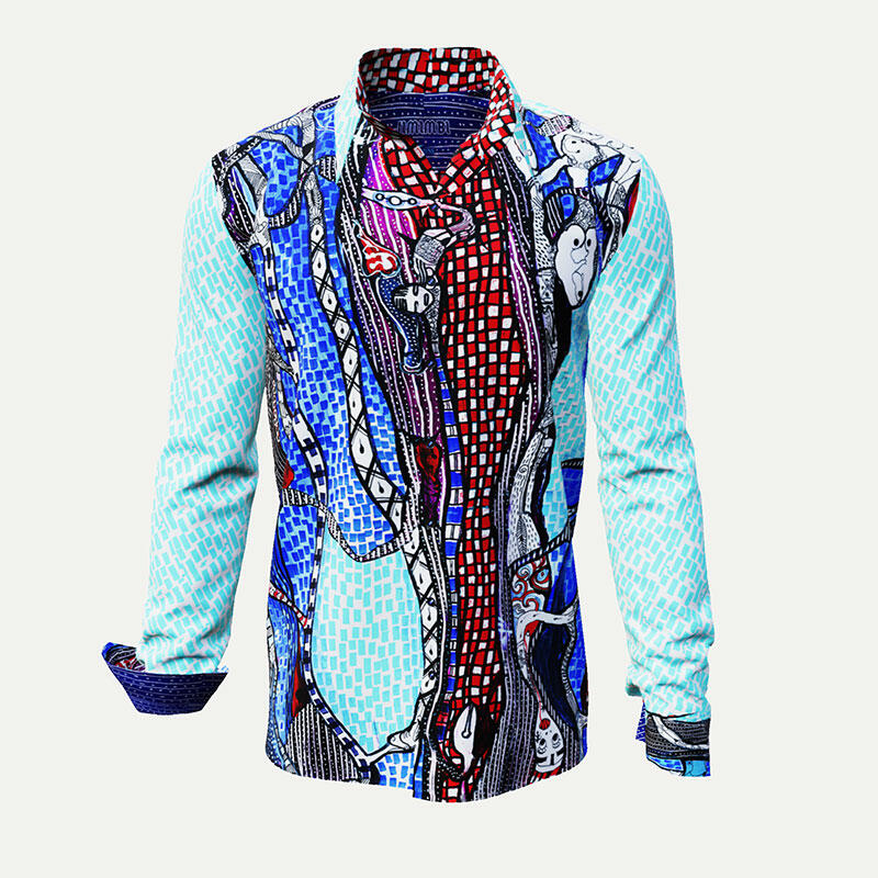 JIMIMBI - Extravagant blue-white casual shirt