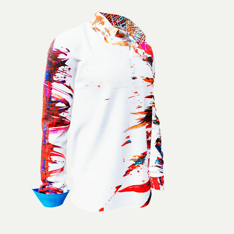 INTERFERENCE - Cool white-red mens´shirt - GERMENS