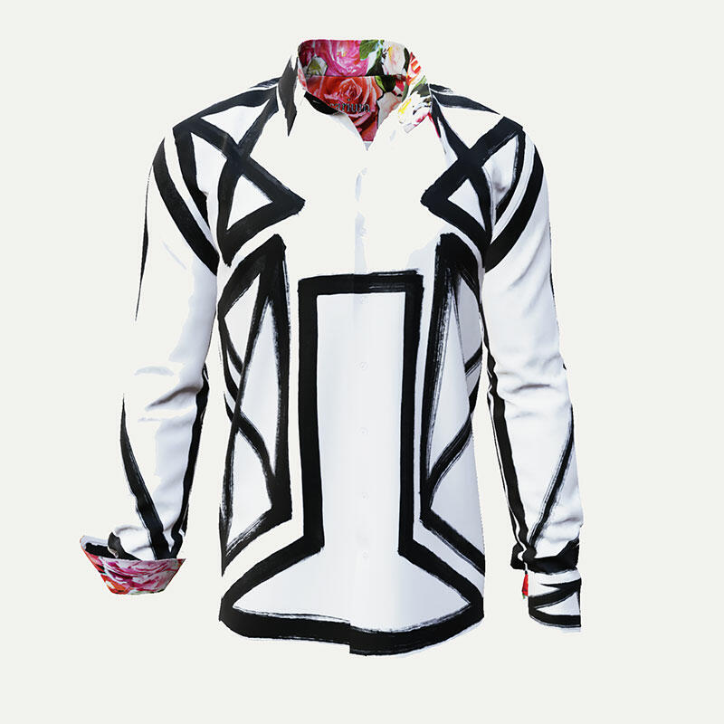 ROSARIUM - White men´s shirt with black line