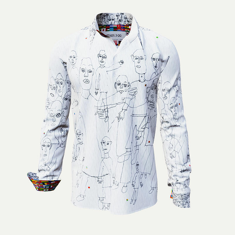 ARTICLE 3GG - White men´s shirt with black illustration