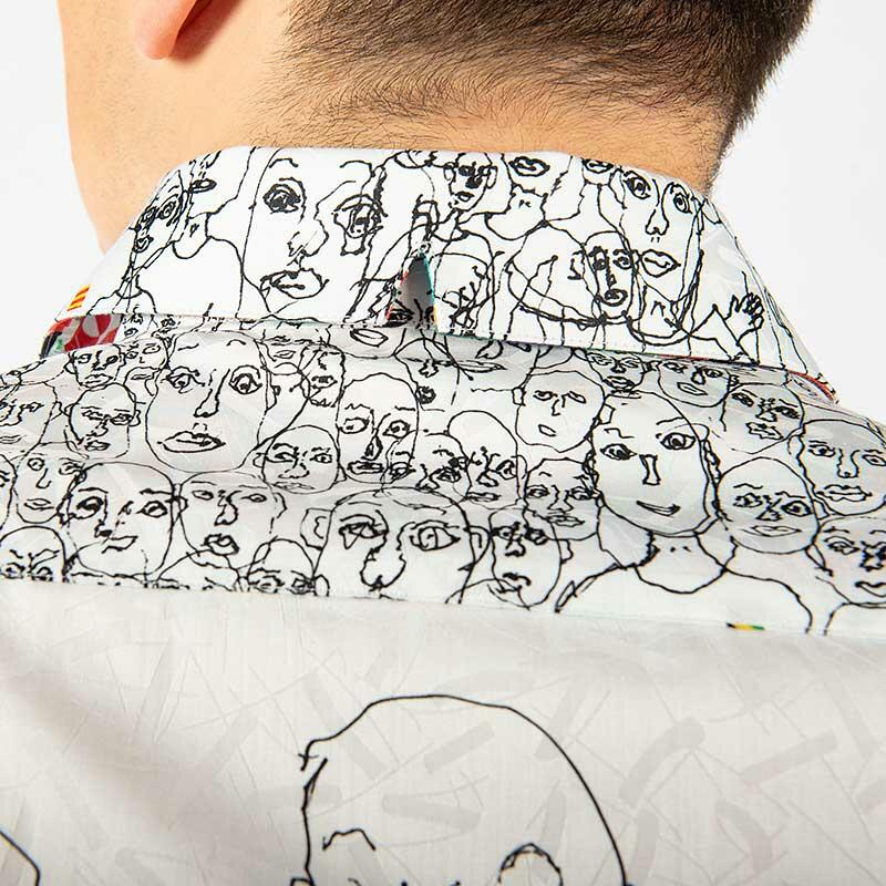 ARTICLE 3GG - White men´s shirt with black illustration - GERMENS
