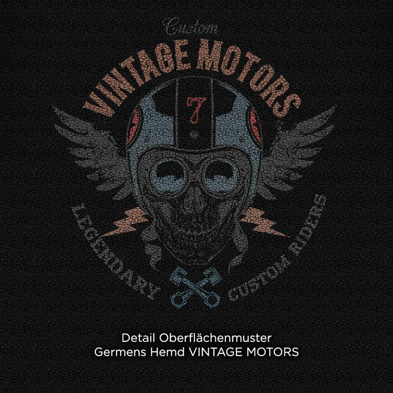 VINTAGE MOTORS - Black biker shirt  - GERMENS