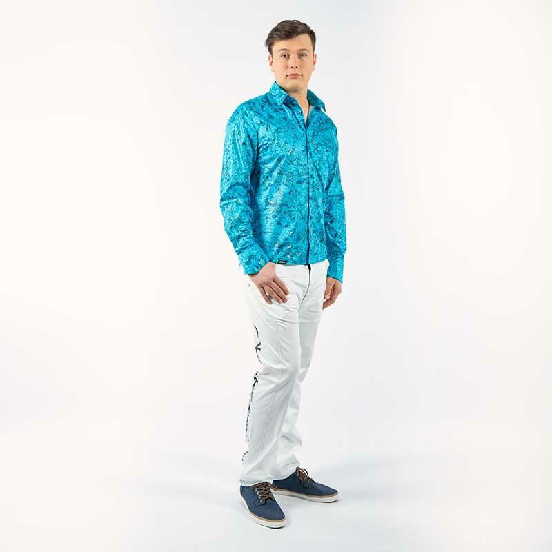 Blue leisure shirt GRAVUR BLUE by Germens