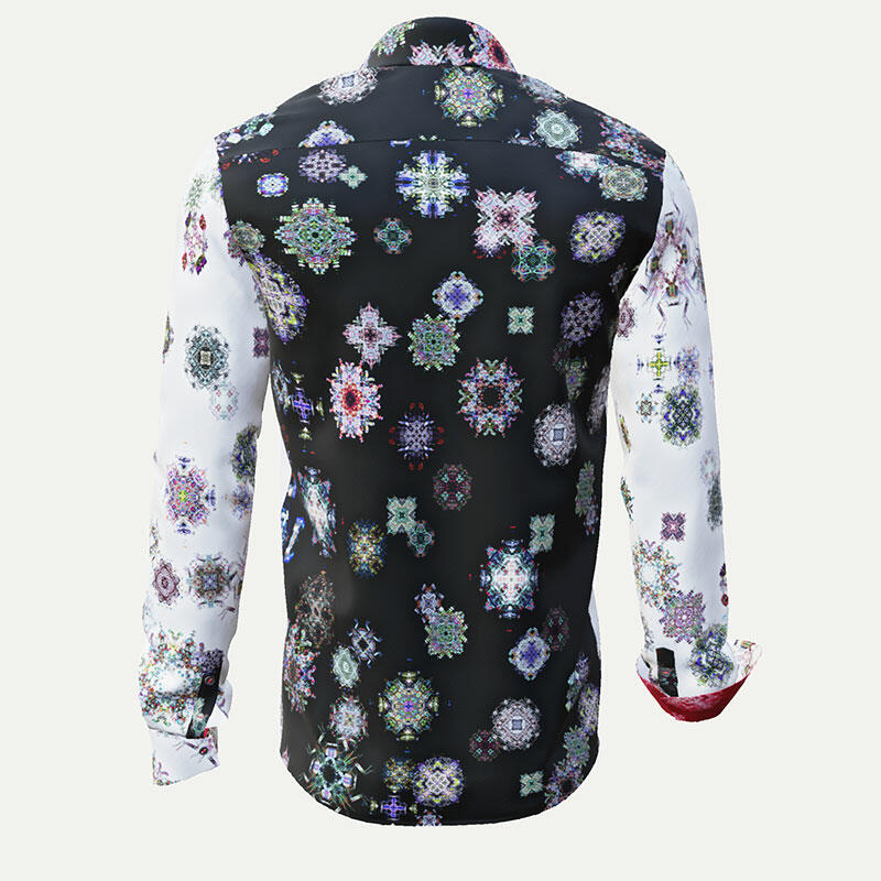 KALEIDOSCOPE - Black and white shirt with colored patterns
