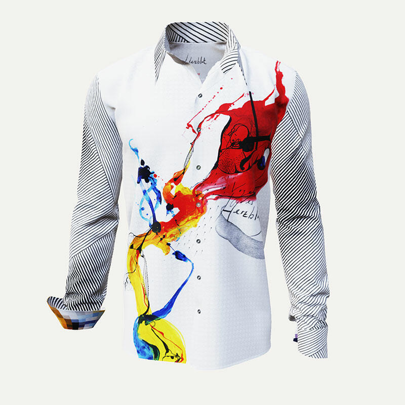 HERZBLUT - White men´s shirt with colored artist's drawing