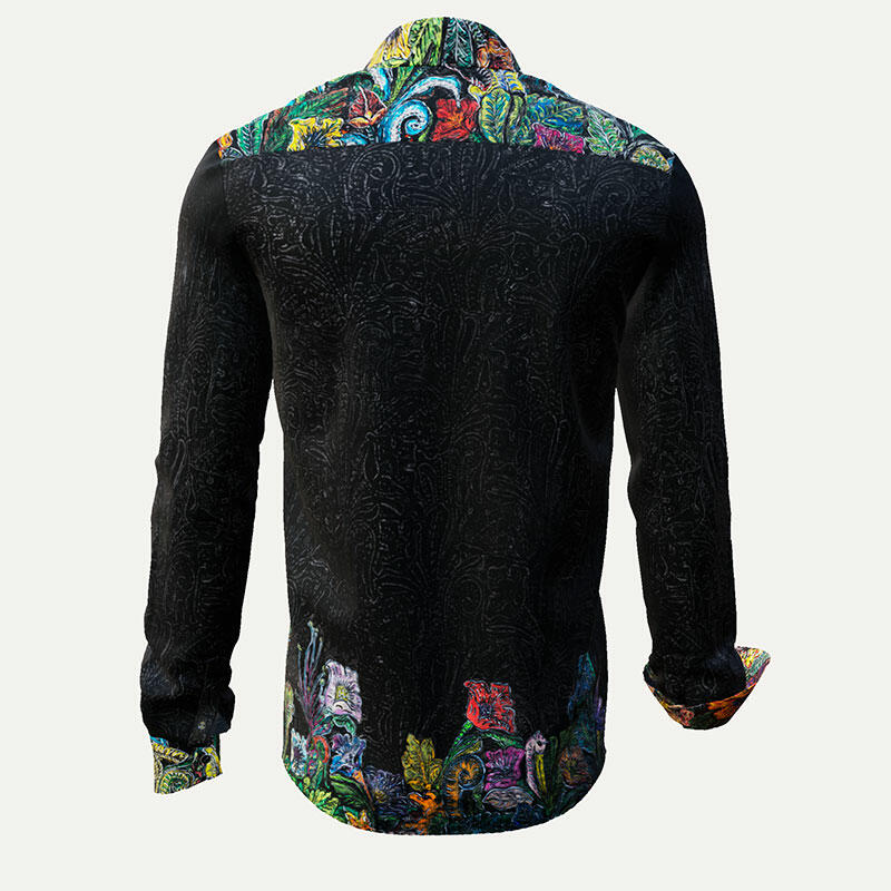 GARDEN MYSTIQUE - Noble dark men's shirt with colored flowers