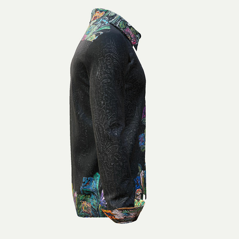 GARDEN MYSTIQUE - Noble dark mens shirt with colored flowers - GERMENS