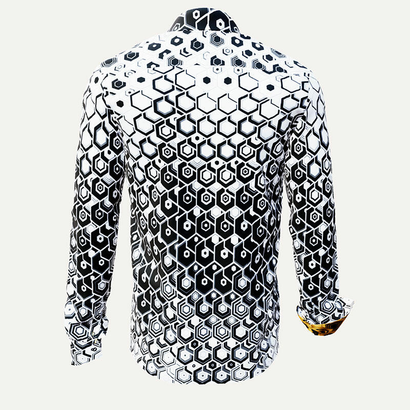 HEXAGON ONYX - White-black men´s shirt