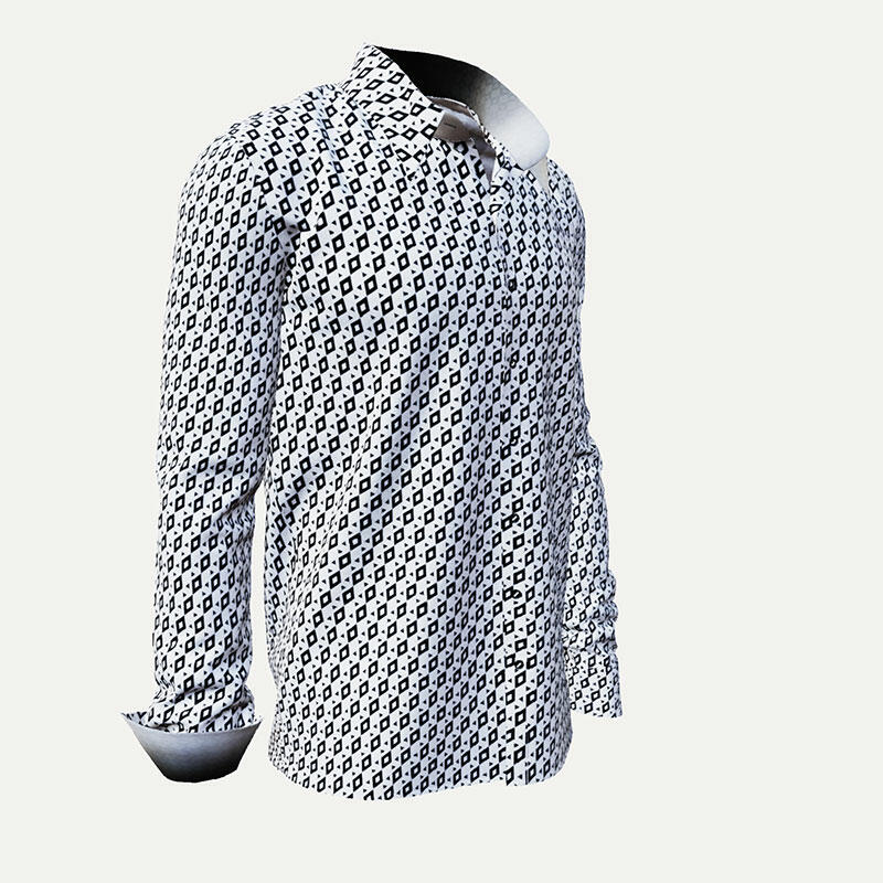 CUBO POLAR - Black and white pixelated leisure shirt - GERMENS