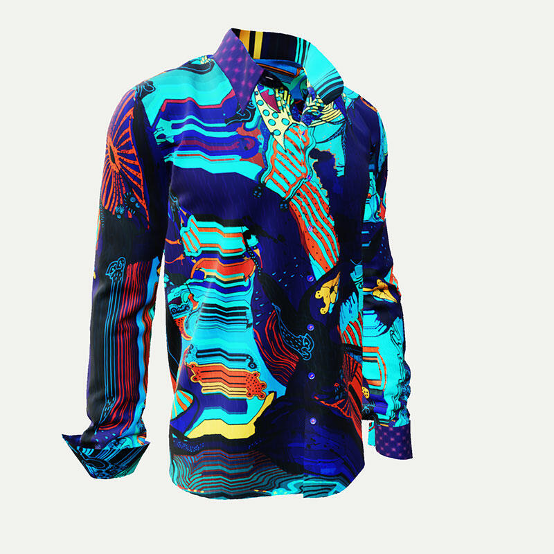 TITICACA - Dark blue men´s shirt with colored drawings - GERMENS
