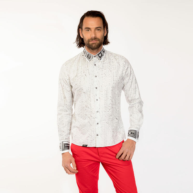 UNKNOWN PLEASURE - White men´s shirt with filigree details - GERMENS