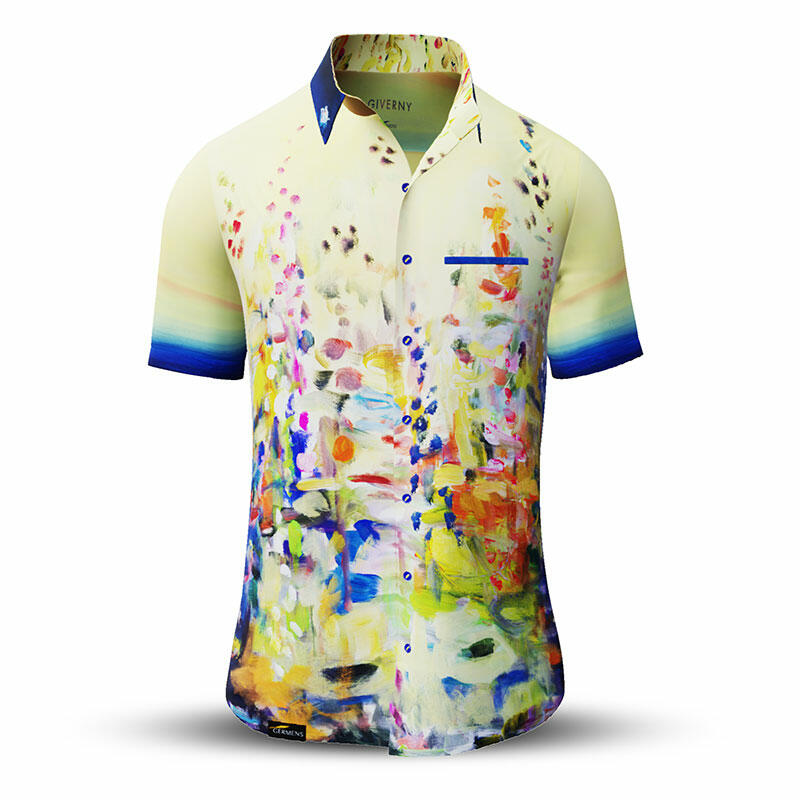 GIVERNY - Yellow short sleeve shirt with colored swabs -...