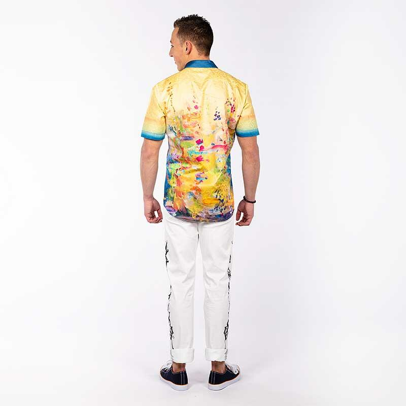 GIVERNY - Yellow short sleeve shirt with colored swabs - GERMENS