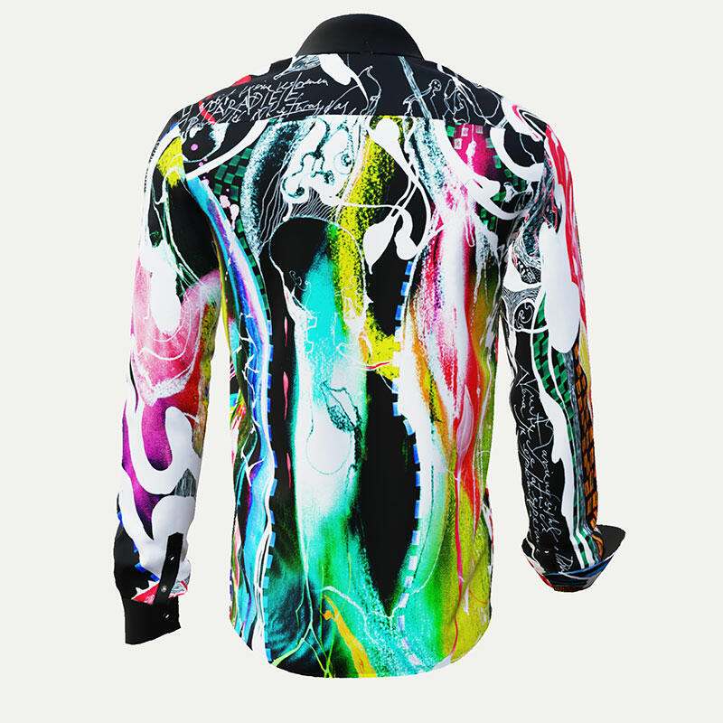 PARADIES II - Black shirt with colored drawing - GERMENS