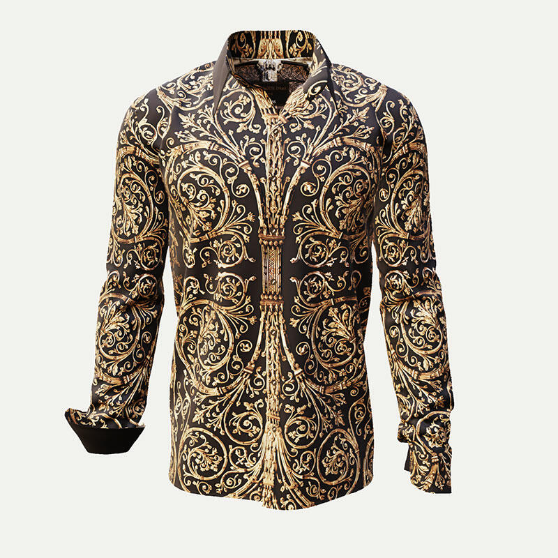 PORTE NOTRE DAME - Dark brown shirt with golden ornaments...