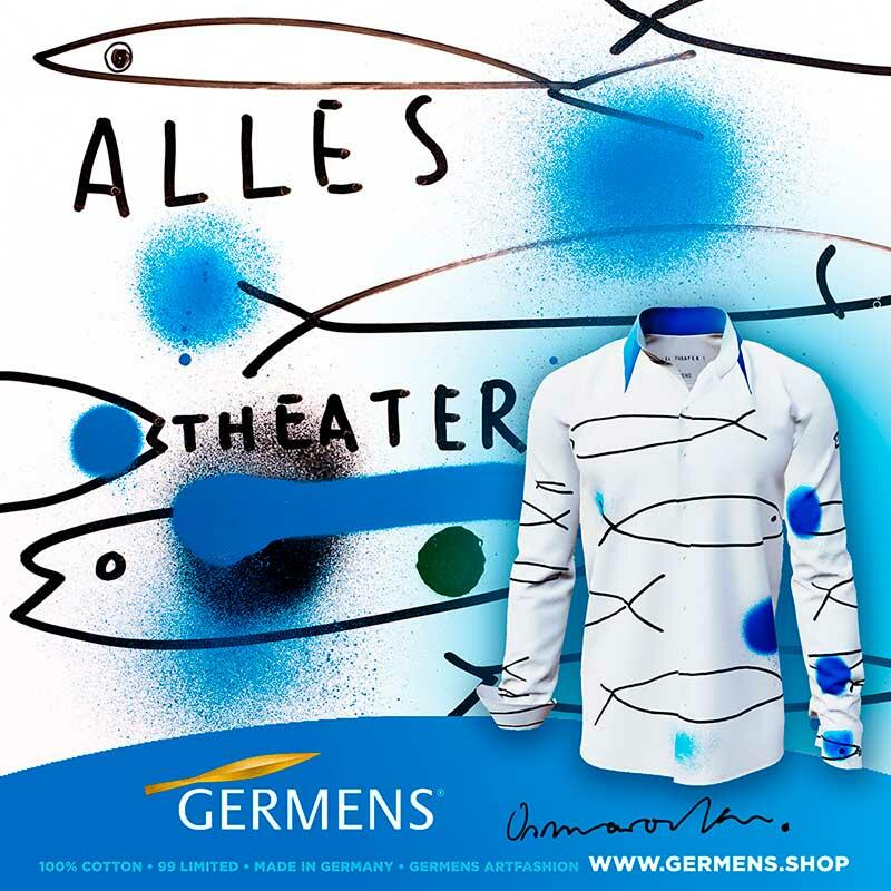 ALLES THEATER - White artist shirt with fish - GERMENS