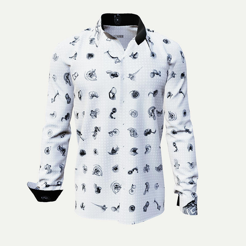 FLUGZAUBER - Extravagant black and white men's shirt