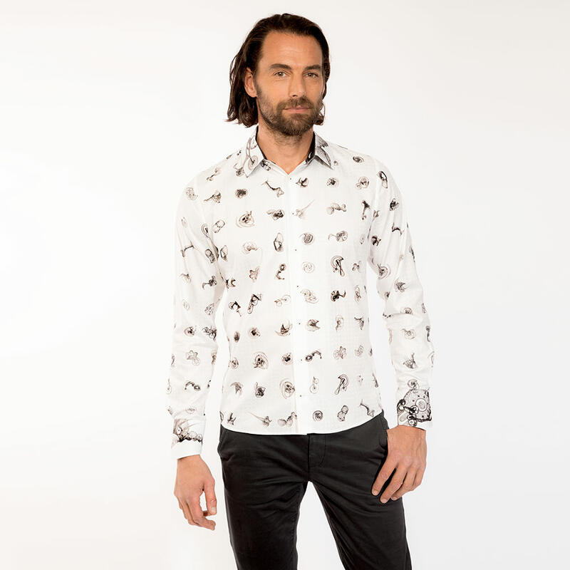 FLUGZAUBER - Extravagant black and white mens shirt