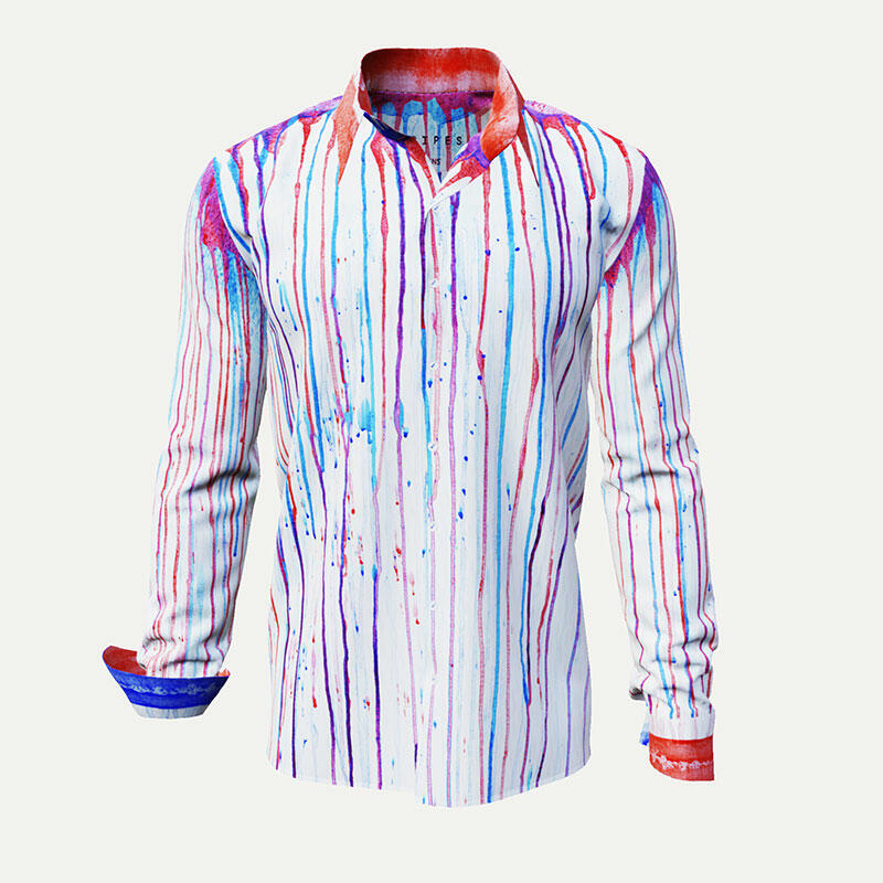STRIPES - Blue red striped men´s leisure shirt